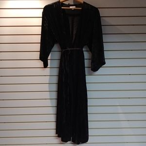 H by Halston black Velvet duster. Size L/XL